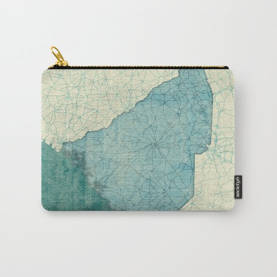 South Carolina State Map Blue Vintage Carry-All Pouch