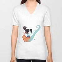 legend of korra V-neck T-shirts featuring Korra by kdotjay