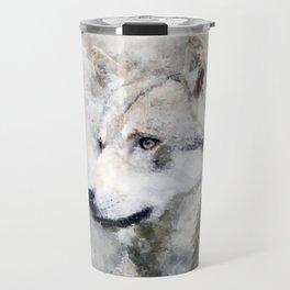 Watercolour grey wolf portrait Travel Mug