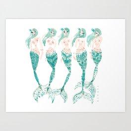 SEA GLASS SISTAHS // 12 Days of Mermaids Series Art Print