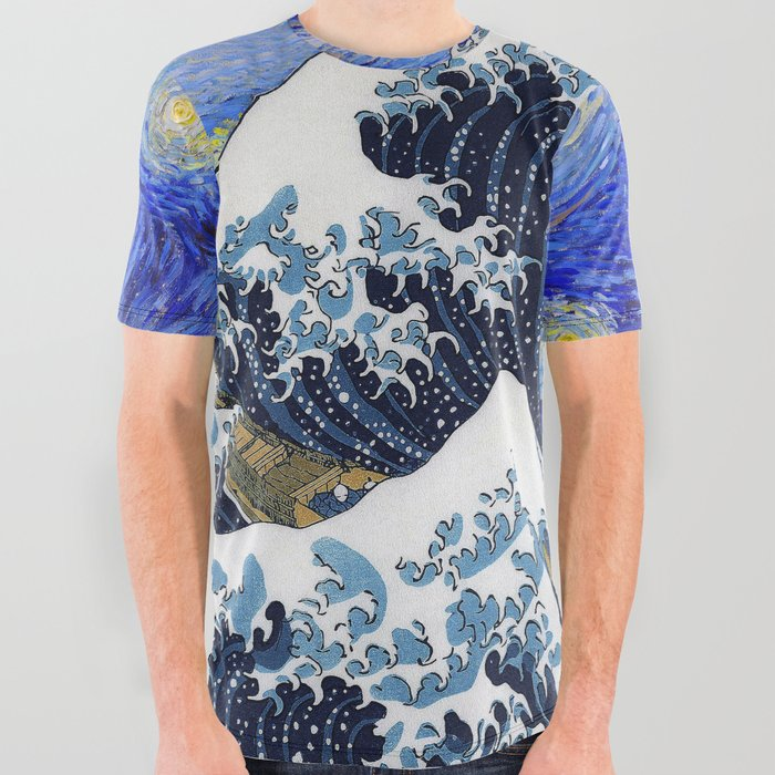 HokusaiThe_Great_Wave_off_Kanagawa__van_GoghStarry_night_All_Over_Graphic_Tee_by_DOHSHIN__Small