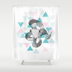 Geometric snake attack Shower Curtain