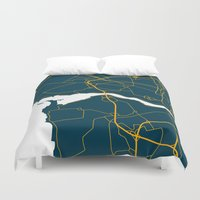 portugal Duvet Covers featuring Porto Portugal Map by Studio Tesouro