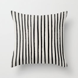 Vertical Black and White Watercolor Stripes Throw Pillow
