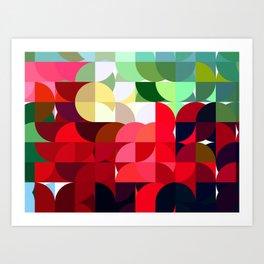 Mixed color Poinsettias 3 Abstract Circles 1 Art Print