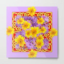 RED PURPLE YELLOW FLOWERS CELTIC ART Metal Print