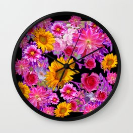 BLACK FLORAL TAPESTRY OF ASSORTED FLOWERS Wall Clock