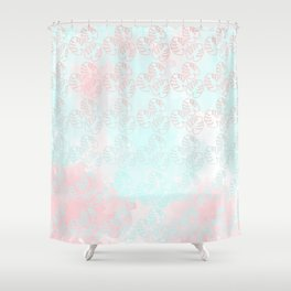 turquoise and light rose palm leaves Shower Curtain