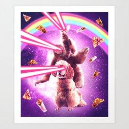 Laser Eyes Space Cat Riding Sloth, Dog - Rainbow Art Print