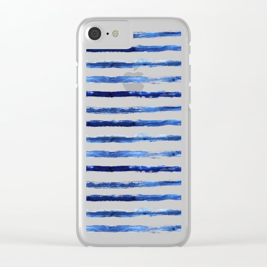 Blue grungy stripes Clear iPhone Case