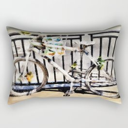 White Bike Rectangular Pillow