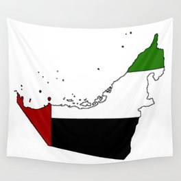 United Arab Emirates UAE Map with Flag Wall Tapestry