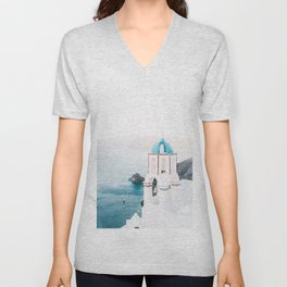 Santorini Greece Mamma Mia blue-white travel photography in hd. Unisex V-Neck