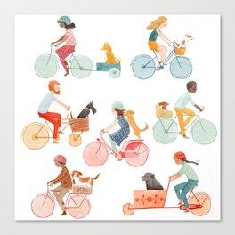 Biking With Dog Canvas Print