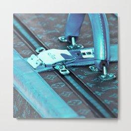 Travel Suitcase, blue Metal Print
