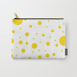 Mixed Polka Dots - Gold Yellow on White Carry-All Pouch
