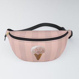 Ice Cream Cone Flower Bouquet - Pink Roses Fanny Pack