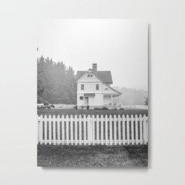 Oregon Coast | Foggy Day at Heceta Head | Black and White Photography Metal Print