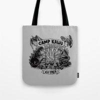 kaiju Tote Bags featuring Camp Kaiju by Austin James