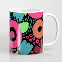 Bold Abstract Floral Inspired Pattern (Red, Orange, Honeysuckle Pink, Blue, Green) Coffee Mug