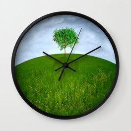 Single tree on hill Wall Clock