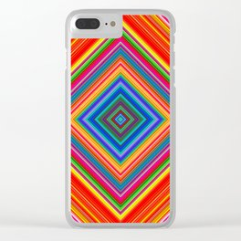 Rainbow Abstract Psychedelic Neon Dawn Triangle Design - Pink and  Orange Clear iPhone Case