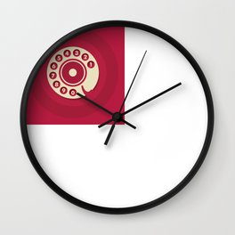 Vintage Red Telephone Wall Clock