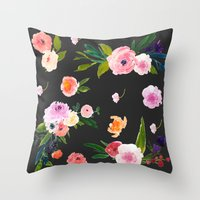 goth Throw Pillows featuring Floral Goth by MY  HOME