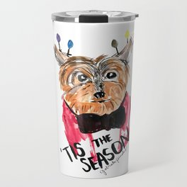 Holiday Dog, Tis the Season, Pinales Illustrated Travel Mug