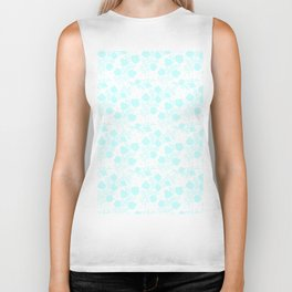 Hand painted watercolor teal polka dots floral pattern Biker Tank
