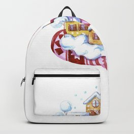 Magic gingerbread houses on a red mitt Backpack