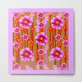 Lilac Purple Dahlia Flowers Orange Abstract Pattern Metal Print