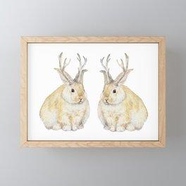 Watercolor Grumpy Jackalope Antler Bunny Framed Mini Art Print