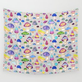 Watercolor Mushroom Pattern on Gray Wall Tapestry