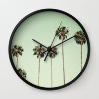 palm trees Wall Clocks featuring Palm Trees  by Laura Ruth