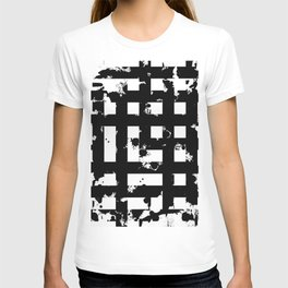 Splatter Hatch - Black and white, abstract hatched pattern T-shirt