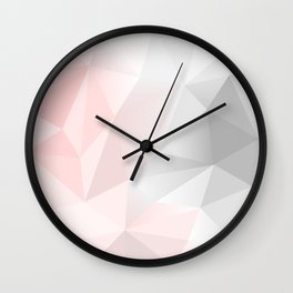 pink and gray geometric low poly background Wall Clock