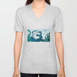 ocean waves abstract digital painting Unisex V-Neck