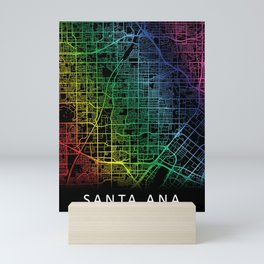 Santa Ana, CA, USA, City, Map, Rainbow, Map, Art, Print Mini Art Print