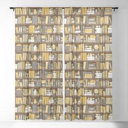 Book Case Pattern - Yellow Grey Sheer Curtain