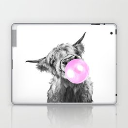 Bubble Gum Highland Cow Black and White Laptop & iPad Skin
