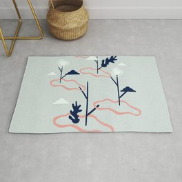 Islands conected by plants artwork Rug