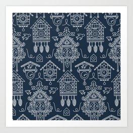 Cuckoo Clocks on Blue Art Print
