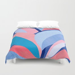 Fire and Ice II / Abstract Tropical Garden in Pink and Blue Duvet Cover