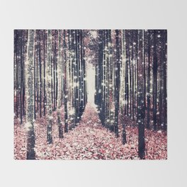 Magical Forest Millennial Pink Pewter Elegance Throw Blanket