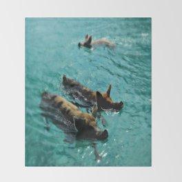 Swimming Pigs In The Exumas, Bahamas, Caribbean  Throw Blanket