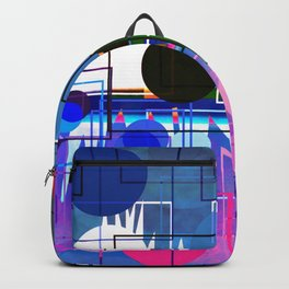Multi- Blue Sticker Line Abstract Design Backpack