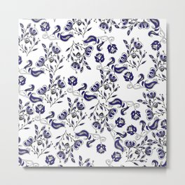 Hand painted navy blue white watercolor chic floral Metal Print
