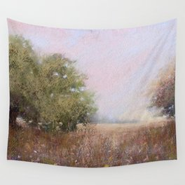 Quiet Afternoon Soft Pastel Landscape Painting Wall Tapestry
