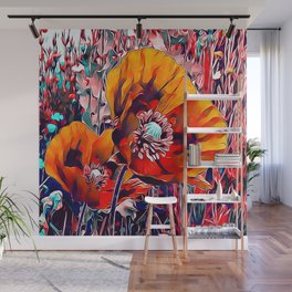 Meadow Poppies Autumn Wall Mural